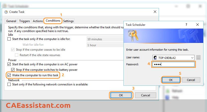 Create Task Condition Tab Setting