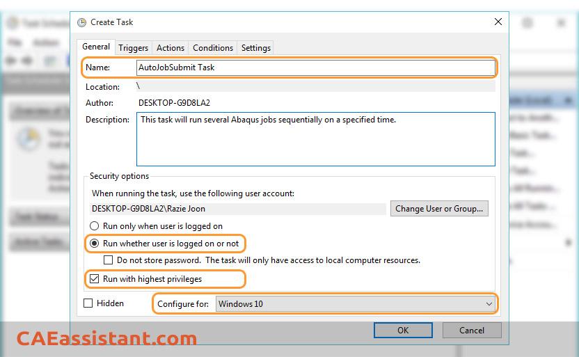 Create Task General Tab Setting