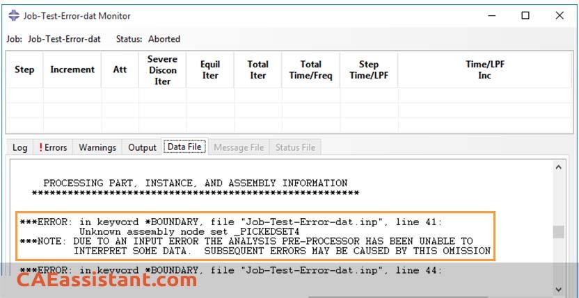 Errors written in .dat file