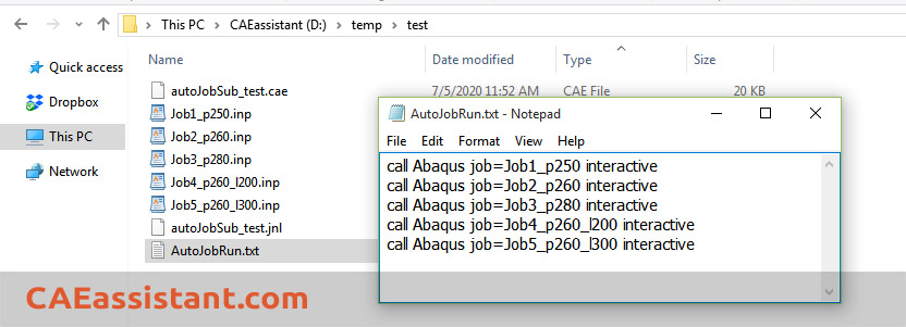 call abaqus to run jobs in txt file