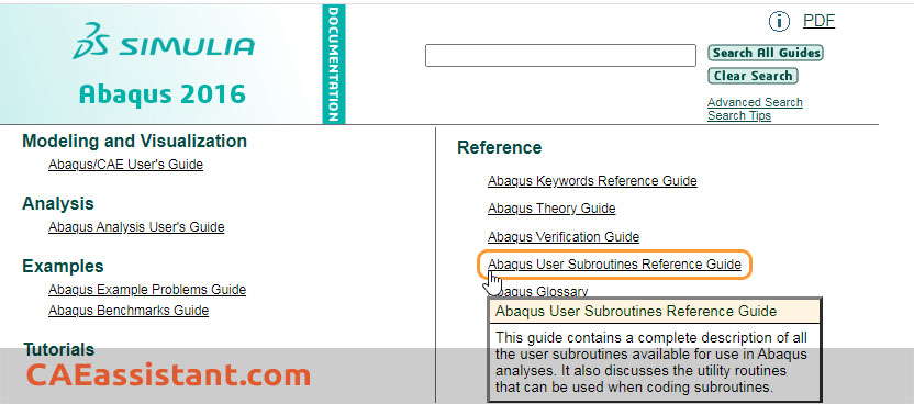 Subroune Guide in Abaqus Documentation